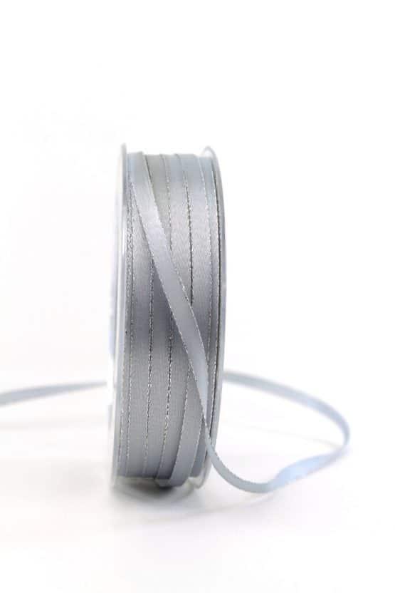 Satinband mit Silberkante, 6 mm breit, grau - weihnachtsband, satinband-m-goldkante-satinband, geschenkband-weihnachten-einfarbig, geschenkband-weihnachten