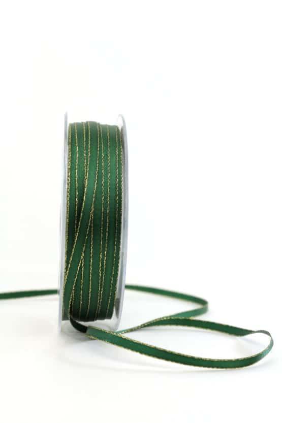 Satinband mit Goldkante, 6 mm breit, tannengrün - weihnachtsband, satinband-m-goldkante-satinband, geschenkband-weihnachten-einfarbig, geschenkband-weihnachten