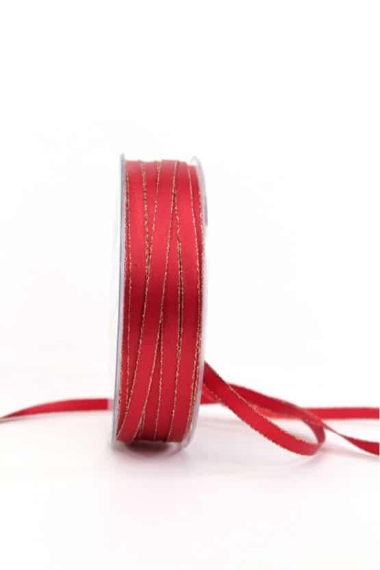 Satinband mit Goldkante, 6 mm breit, rot - weihnachtsband, satinband-m-goldkante-satinband, geschenkband-weihnachten-einfarbig, geschenkband-weihnachten