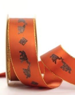 Geschenkband Elefanten, terra-gold, 40 mm breit - webkante, geschenkband-weihnachten-gemustert, geschenkband-weihnachten