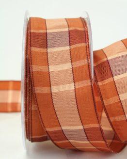 Karoband braun mit Drahtkante, 40 mm breit - sonderangebot, karoband, karierte-baender, geschenkband-kariert, dekoband-mit-drahtkante-dekoband