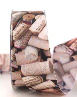 Geschenkband Korken, 40 mm - geschenkband-gemustert, essen-trinken, dekoband
