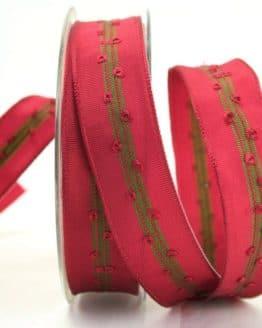 Schlichtes Geschenkband bordeaux-grün, 25 mm breit - weihnachtsband, geschenkband-weihnachten, dekoband-mit-drahtkante-dekoband