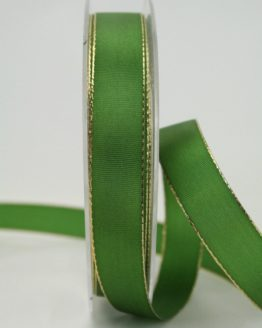 Geschenkband grün mit Goldkante, 15 mm breit - weihnachtsband, taftband, sonderangebot, geschenkband-weihnachten