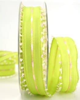 Geschenkband grün-rosa, 25 mm breit - sonderangebot, dekoband-mit-drahtkante-dekoband