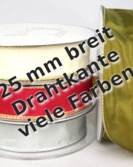 Dekoband mit Gold-/Silberkante in 25 mm, mit Drahtkante - weihnachtsband