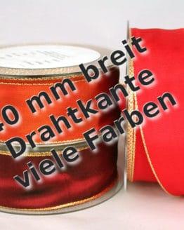 Dekoband mit Gold-/Silberkante in 40 mm, mit Drahtkante - weihnachtsband