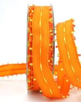 Geschenkband orange-grün, 25 mm breit - sonderangebot, dekoband-mit-drahtkante-dekoband