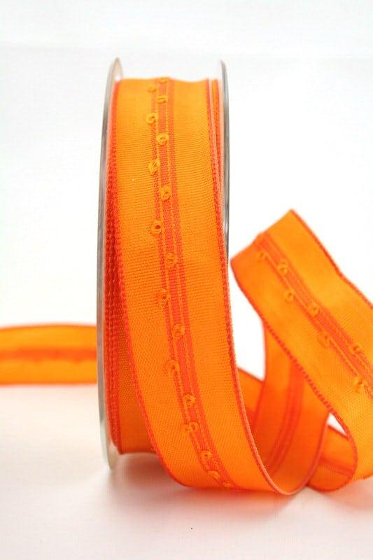 Schlichtes Geschenkband orange, 25 mm breit - dekoband-mit-drahtkante-dekoband