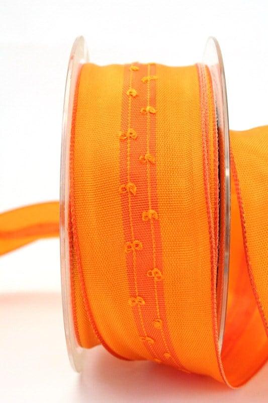 Schlichtes Geschenkband orange, 40 mm breit - dekoband-mit-drahtkante-dekoband