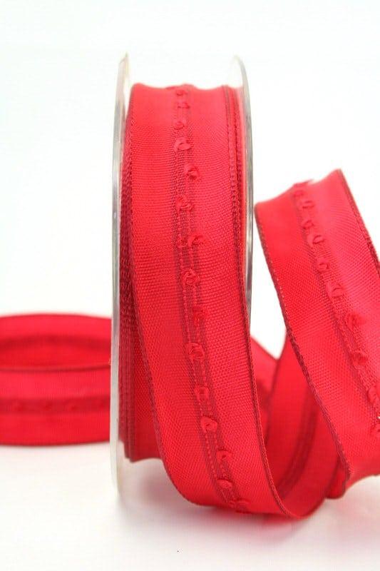 Schlichtes Geschenkband rot, 25 mm breit - weihnachtsband, geschenkband-weihnachten, dekoband-mit-drahtkante-dekoband