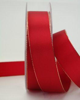 Geschenkband rot mit Goldkante, 25 mm breit - weihnachtsband, taftband, sonderangebot, geschenkband-weihnachten