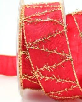 Geschenkband rot mit goldenen Fransen, 40 mm breit - webkante, sonderangebot, geschenkband-weihnachten