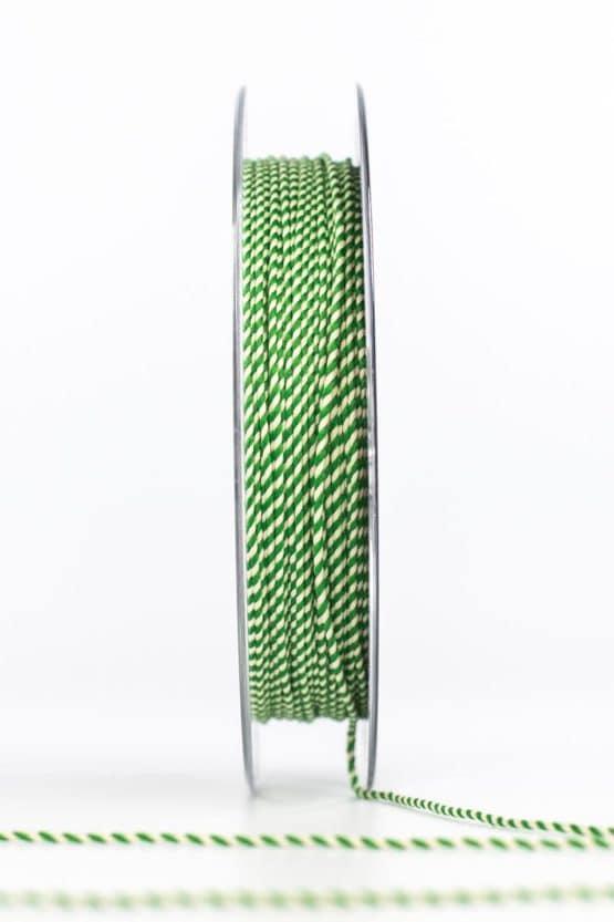 Dünne Kordel, grün/weiß, 1 mm stark - kordeln