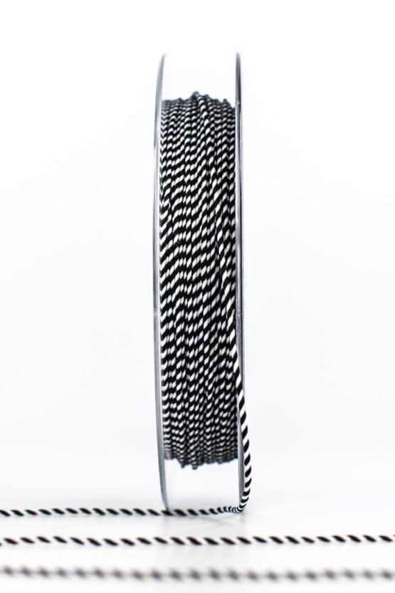 Dünne Kordel, schwarz/weiß, 1 mm stark - kordeln