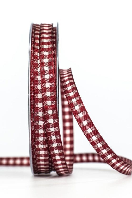 Schmales Karoband, bordeauxrot, 8 mm breit - karierte-baender, geschenkband