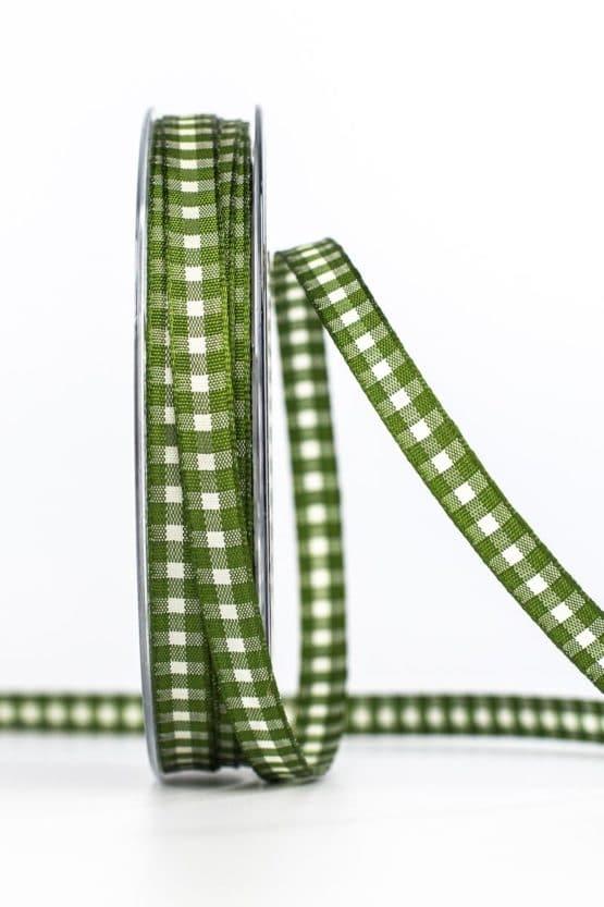Schmales Karoband, grün, 8 mm breit - karierte-baender, geschenkband