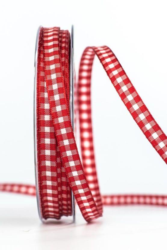 Schmales Karoband, rot, 8 mm breit - karierte-baender, geschenkband