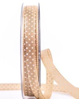 Taftband mit Punkten, braun, 10 mm breit - geschenkband-mit-punkten, geschenkband-gemustert, dekoband