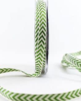 Raffiniertes Geschenkband mit Zackenmuster, grün, 10 mm breit - weihnachtsband, geschenkband-weihnachten-gemustert, geschenkband-weihnachten