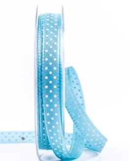Taftband mit Punkten, türkis, 10 mm breit - geschenkband-mit-punkten, geschenkband-gemustert, dekoband