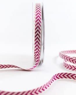 Raffiniertes Geschenkband mit Zackenmuster, lila, 10 mm breit - weihnachtsband, geschenkband-weihnachten-gemustert, geschenkband-weihnachten
