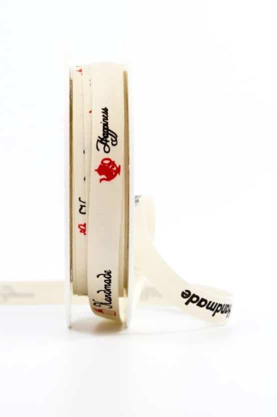 """Leinenband """"Handmade"""", 10 mm breit - geschenkband-gemustert, geschenkband, dekoband"""