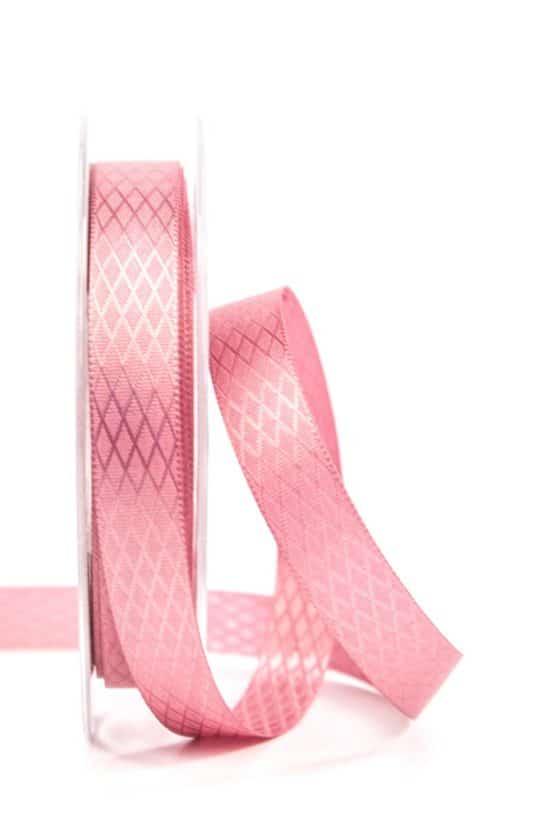 Gemustertes Satinband, altrosa, 15 mm - hochzeit, geschenkband-einfarbig, dekoband