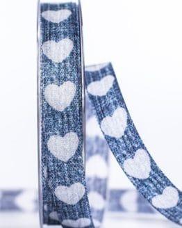Jeansband mit Herzen, blau, 15 mm breit - geschenkband-mit-herzen