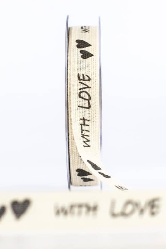 """Leinenband """"With Love"""", natur, 15 mm breit - vintage-baender, geschenkband-mit-herzen"""