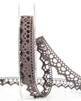 Dekolitze, taupe, 15 mm breit - vintage-baender, spitzenbaender, hochzeit