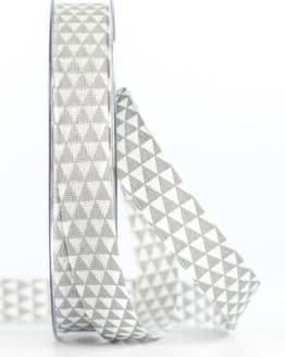 Schmales Geschenkband mit Dreiecken, grau, 15 mm breit - geschenkband-gemustert, geschenkband