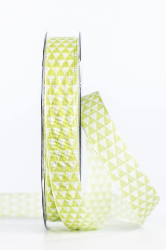 Schmales Geschenkband mit Dreiecken, grün, 15 mm breit - geschenkband-gemustert, geschenkband