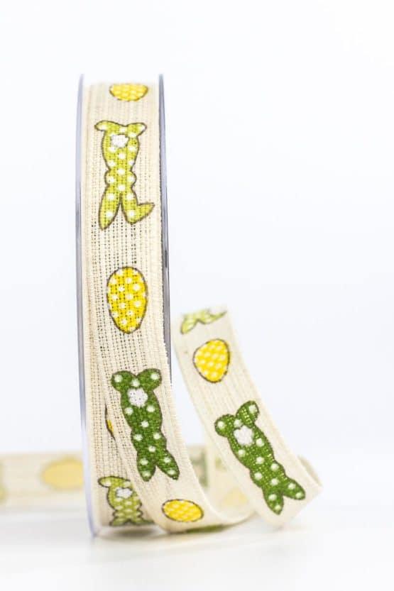 Leinenband Osterhase, grün-gelb, 15 mm breit - ostern, geschenkband-gemustert, geschenkband-fuer-anlaesse, geschenkband, anlaesse