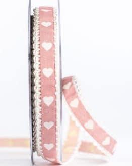 Geschenkband mit Herzen, rosa, 15 mm breit - geschenkband-mit-herzen