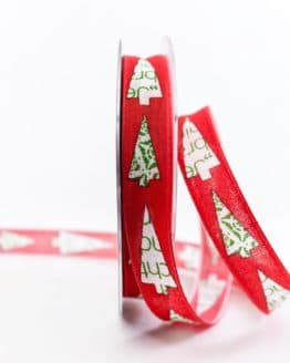 Moderne Weihnachtsbäume, rot, 15 mm breit - weihnachtsband, geschenkband-weihnachten-gemustert, geschenkband-weihnachten