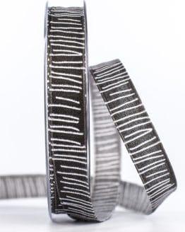 Leinenstrukturband mit Streifen, schwarz, 15 mm breit - geschenkband-gemustert, dekoband