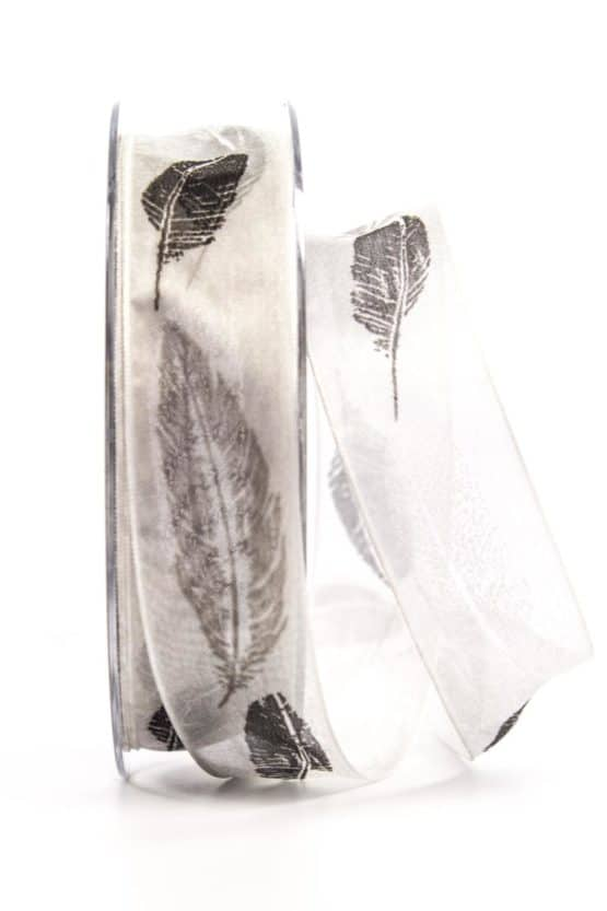 Organzaband mit Federn, grau, 25 mm breit - organzaband-gemustert