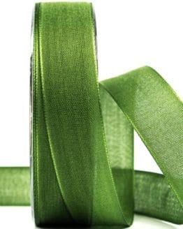 Geschenkband Leinen, moosgrün, 25 mm breit - geschenkband-einfarbig, dekoband