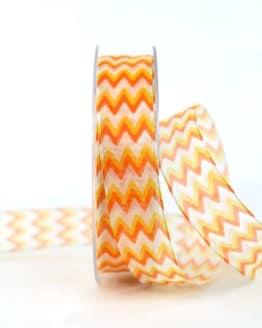 Dekoband im 70er-Look, orange, 25 mm breit - geschenkband-gemustert, dekoband