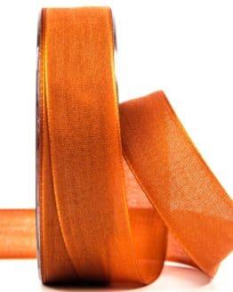 Geschenkband Leinen, dunkelorange, 25 mm breit - geschenkband-einfarbig, dekoband