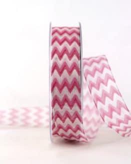 Dekoband im 70er-Look, pink, 25 mm breit - geschenkband-gemustert, dekoband