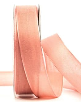 Geschenkband Leinen, flamingo, 25 mm breit - geschenkband-einfarbig, dekoband