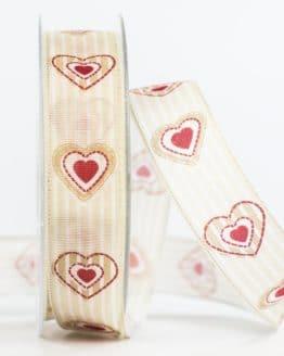 Geschenkband Herz, beige, 25 mm breit - valentinstag, muttertag, geschenkband-mit-herzen