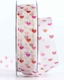 Organzaband mit bunten Herzen, rot, 25 mm breit - valentinstag, organzaband-gemustert, organzaband, geschenkband-mit-herzen, geschenkband-gemustert, geschenkband-fuer-anlaesse, geschenkband, anlaesse