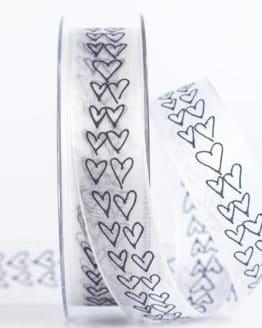 Organzaband mit Herzen, schwarz, 25 mm breit - valentinstag, organzaband-gemustert, organzaband, geschenkband-mit-herzen, geschenkband-gemustert, geschenkband-fuer-anlaesse, geschenkband, anlaesse