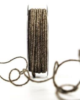 Juteschnur mit Draht, braun, 2 mm breit - zierkordeln