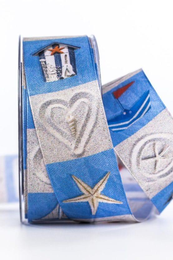 Maritimes Dekoband, blau, 40 mm breit - gechenkband-gemustert