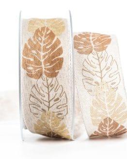 Changierendes Schleifenband Blätter, braun, 40 mm breit - geschenkband-gemustert, dekoband