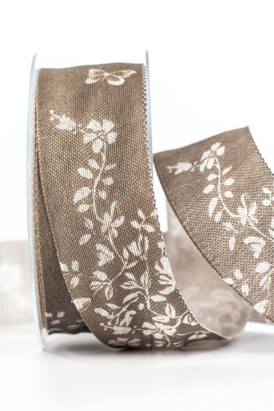 Changierendes Geschenkband Schmetterlinge, taupe, 40 mm breit - geschenkband-gemustert, dekoband